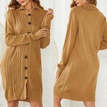 Cardigan Robe-Style Doux à la Mode au Col POLO à Simple-Boutonnage en Tricot