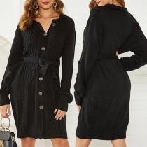 Cardigan Noir Robe-Style Elégant Doux à la Mode à Simple-Boutonnage en Tricot