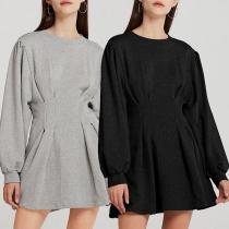 Robe Elégante à la Mode à la Taille Haute à Manches Bouffantes