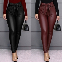 Pantalon Moulant Stylé à la Mode à la Taille Haute en Faux Cuir avec une Ceinture