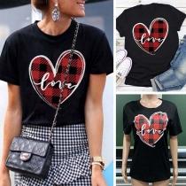 Fashion Plaid Spliced Heart Pattern Short Sleeve T-shirt