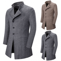 Fashion Long Sleeve Stand Collar Man's Woolen Coat