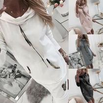 Robe de Pull Stylée à la Mode à Capuche à Manches Longues