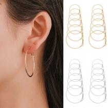 Boucles d'Oreilles 6-Pièces Douces Chic à la Mode avec un Design de Cercle
