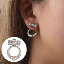 Boucles d'Oreilles Douces Chic à la Mode avec les Cristaux avec un Design de Nœud Papillon