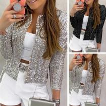 Blazer/Veste Cardigan-Style Douce Stylée à la Mode Pailletée à Manches Longues