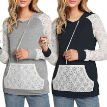 Fashion Lace Spliced Long Sleeve Hooded Sweatshirt