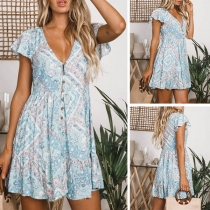 Sexy V-neck Short Sleeve Front-button Printed Dress