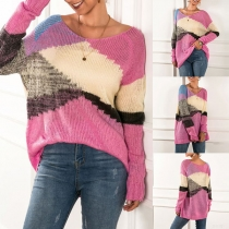 Fashion Contrast Color Long Sleeve Round Neck Loose Knit Top