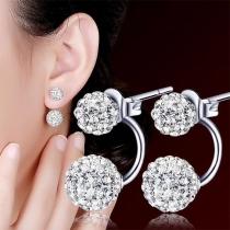 Boucles d'oreilles en Forme de Boule Incrustées de Strass de Mode
