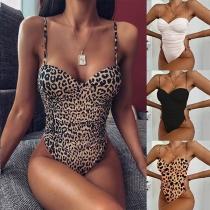 Maillot de Bain Une-Pièce à la Mode Sexy à Bretelles Rembourré Sans Armature