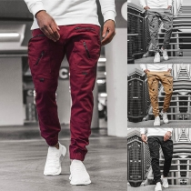 Fashion Solid Color Zipper Pocket Man's Casual Pants