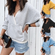 Fashion Solid Color Long Sleeve V-neck Hooded Sweatshirt