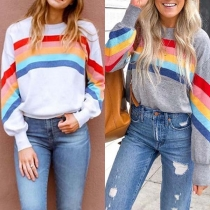 Fashion Long Sleeve Round Neck Rainbow Sweatshirt