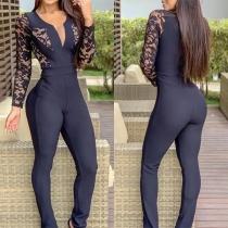 Combinaison Noire Moulante Stylée à la Mode Sexy Encolure V à la Taille Haute avec les Détails en Dentelle