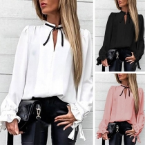 OL Style Long Sleeve V-neck Solid Color Blouse