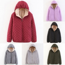 Fashion Solid Color Long Sleeve Hooded Plush Lining Coat