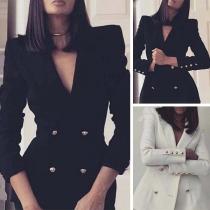 Manteau Blazer Coupe slim à la Mode OL Manches Longues à Double-Boutonnage