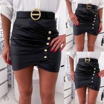 Fashion High Waist Front-button PU Leather Skirt