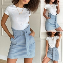 Fashion Solid Color High Waist A-line Skirt with Waist Strap