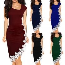 Sexy Lace Spliced Irregular Hem Oblique V-neck Slim Fit Dress