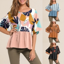 Fashion Printed Spliced Short Sleeve Round Neck Loose Top