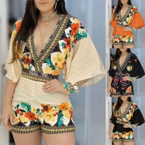 Sexy Backless V-neck Trumpet Sleeve High Waist Printed Romper
