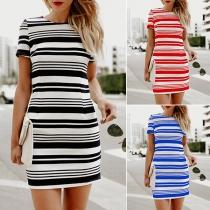 Fashion Short Sleeve Round Neck Slim Fit Striped Dress