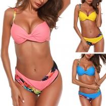 Sexy Ensemble de Bikini à Imprimé de Couleur Contrastée à Taille Basse