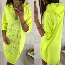 Fashion Letters Printed Long Sleeve Hooded Sweatshirt Dress