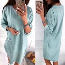 Fashion Solid Color Long Sleeve Round Neck Sweatshirt Dress