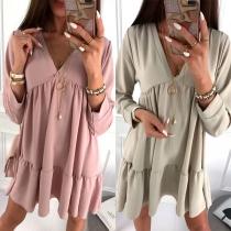 Fashion Solid Color Long Sleeve V-neck Ruffle Hem Loose Dress