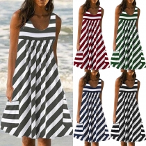 Fashion Sleeveless Round Neck Loose Striped Dress