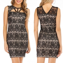 Sexy Sleeveless Slim Fit Hollow Out Lace Dress