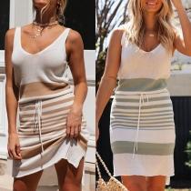 Sexy Backless V-neck Sleeveless Striped Dress