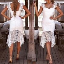 Sexy Backless Lace Spliced Irregular Hem Dress