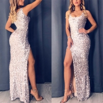 Sexy Slit Hem Sleeveless Square Collar Sequin Party Dress