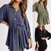 Fashion Solid Color Long Sleeve POLO Collar Irregular Hem Shirt Dress