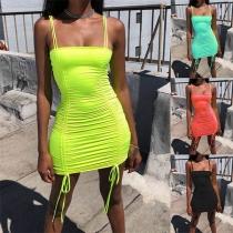 Sexy Backless Drawstring Hem Slim Fit Sling Dress