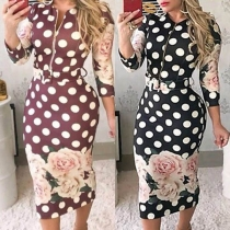 Fashion 3/4 Sleeve Round Neck Slim Fit Printed Dress