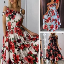 Sexy Off-shoulder High Waist Printed Sling Dress