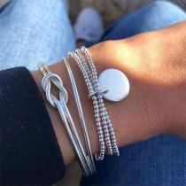 Ensemble de 3 pièces de Bracelets en Perles Torsadées Argentées à la Mode