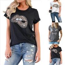 Chic Style Leopard Lip Printed Short Sleeve T-shirt