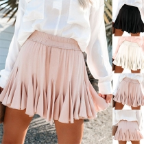Fashion Solid Color High Waist Pleated Hem Skirt