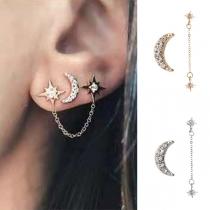 Boucles d'oreilles Asymétriques en Forme de Croissant de Mode