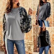 Fashion Camouflage Printed Spliced Long Sleeve Round Neck Sweatshirt
