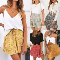 Fresh Style High Waist Ruffle Hem Printed Skirt