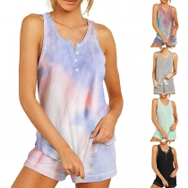 Fashion Sleeveless V-neck Top + Shorts Nightwear Set