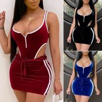 Sexy Backless Sleeveless Bodysuit + Skirt Two-piece Set