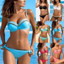 Sexy Ensemble de Bikini Couleur Contrastée Taille Basse